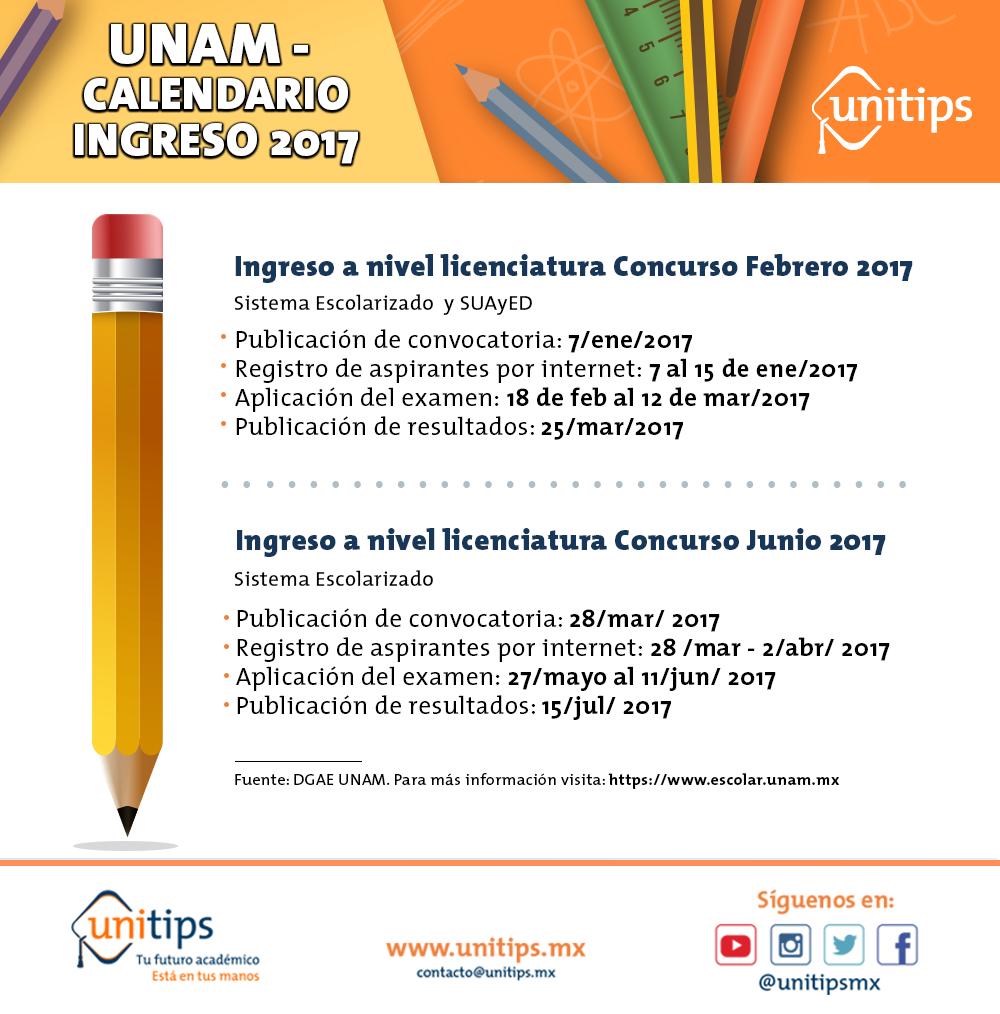 UNAM - Calendario ingreso 2017